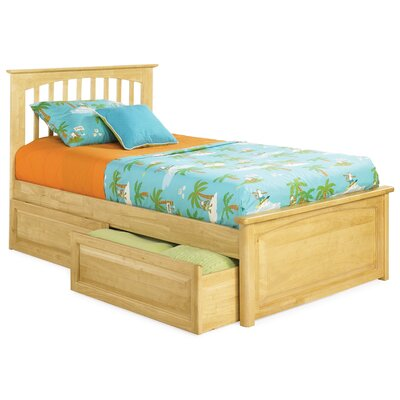 Atlantic Furniture Brooklyn Platform Bed with Raised Panel Drawers in Natural Maple