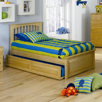 Atlantic Furniture Brooklyn Platform Bed with Raised Panel Footboard and Trundle in Natural Maple
