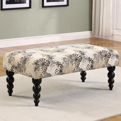 Linon Claire Butterfly Print Upholstered Bench