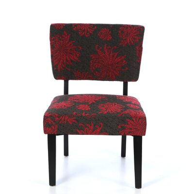 Taylor Fabric Side Chair in Red & Gray by Linon