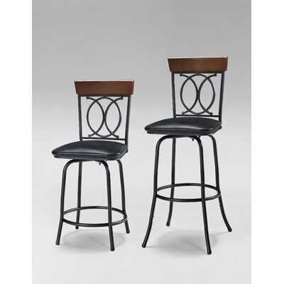 Adjustable Height Swivel Bar Stool with Cushion by Linon