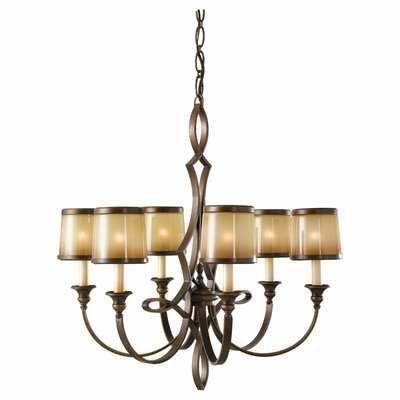 Feiss Justine 6 Light Chandelier with Oak Shade