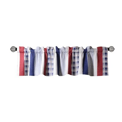 """Nautical Stripe Quilted 84"""" Curtain Valance Product Photo"""