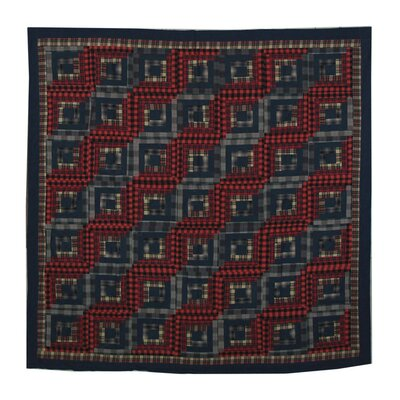 Red log cabin cotton shower curtain by patch magic