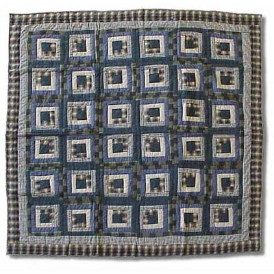 Patch Magic Blue Log Cabin Cotton Throw Quilt