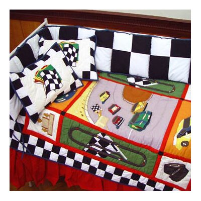 Racecar 6 Piece Crib Bedding Set by Patch Magic