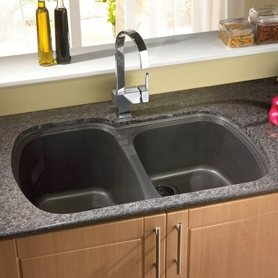 "33"" x 22"" USA Granite ROK Double Bowl Kitchen Sink Product Photo"