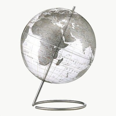 Replogle Globes Crystal Marquise Transparent Silver World Globe