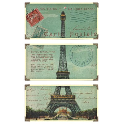 Eiffel Tower Cwall Postale 3 Piece Framed Vintage Advertisment Set by Uttermost