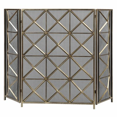 Akiva 3 Panel Metal Fireplace Screen by Uttermost