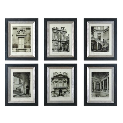 Uttermost Paris Scene I, II, III, IV, V, VI by Grace Feyock 6 Piece Painting Print on Shadow Box Set