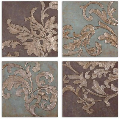 Damask Relief Blocks 4 Piece Original Painting on Plaque Set by Uttermost