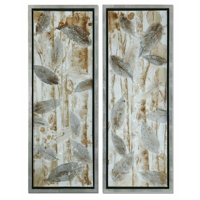 Pressed Leaves 2 Piece Original Painting on Shadow Box Set by Uttermost