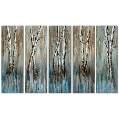 Birch Family 5 Piece Original Painting on Canvas Set by Uttermost