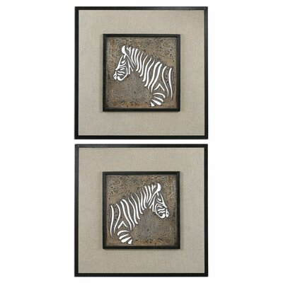 Zebra Squares by Carolyn Kinder 2 Piece Graphic Art Plaque Set by Uttermost