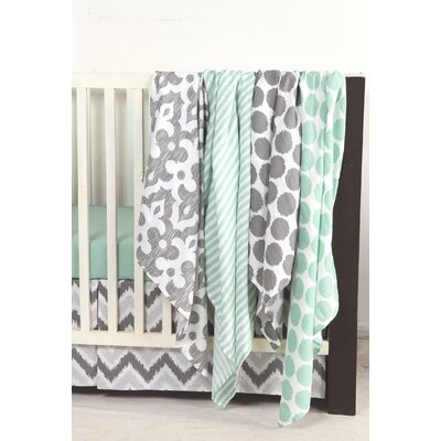 Ikat Dots/Stripes 4 Piece Swaddling Muslin Blanket Set by Bacati