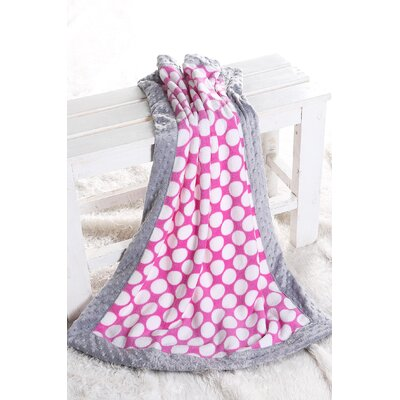 Dots with Border Plush Blanket by Bacati