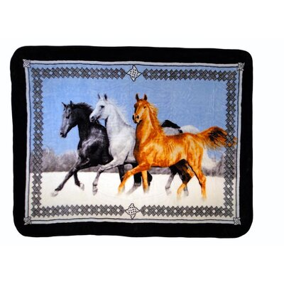 Horses Running Throw Blanket with Border by Shavel