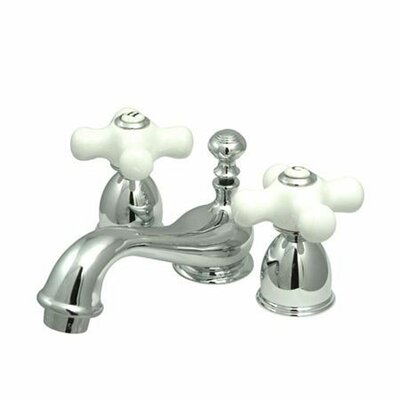 Mini Widespread Bathroom Faucet with Double Porcelain Cross Handles Product Photo