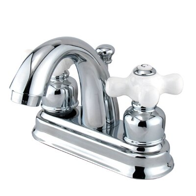 Centerset Bathroom Faucet with Double Porcelain Cross Handles Product Photo