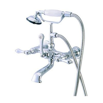 Hot Springs Double Handle Wall Mount Clawfoot Tub Faucet with Hand Shower Product Photo