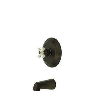 Elements of Design Vintage Pressure Balanced Tub Faucet with Porcelain Cross Handles