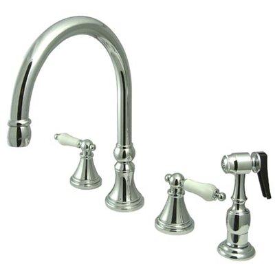 Elements Of Design Deck Mount Double Handle Widespread Kitchen Faucet With Porcelain Lever