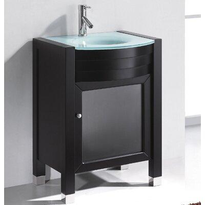 Virtu ultra modern 24 single bathroom vanity set with mirror reviews wayfair for Ultra bathroom vanities burbank