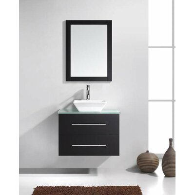 Excellent  Ultra Modern 24quot Single Bathroom Vanity Set With Clear Top And Mirror