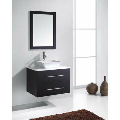 Virtu ultra modern 30 single marsala bathroom vanity set with mirror reviews wayfair for Ultra bathroom vanities burbank