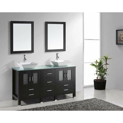 """Bradford 60"""" Double Bathroom Vanity Set with Mirror Product Photo"""