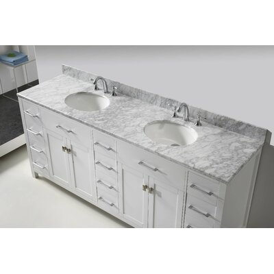 "Caroline Parkway 79"" Double Bathroom Vanity Set with Mirror Product Photo"