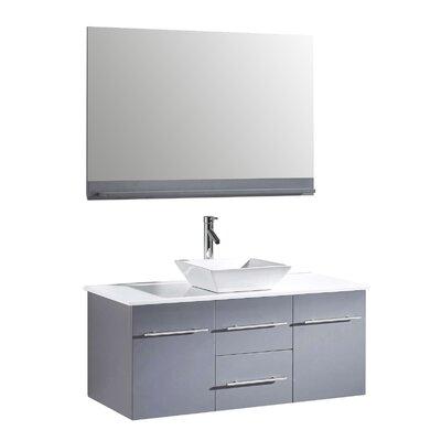 Virtu ultra modern 47 single bathroom vanity set with mirror reviews wayfair for Ultra bathroom vanities burbank
