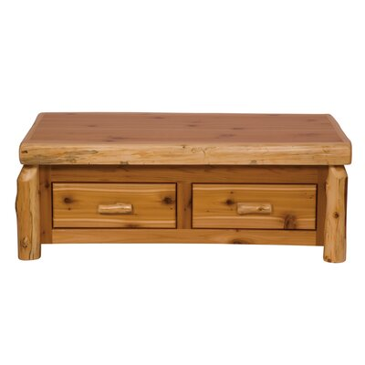 Fireside Lodge Traditional Cedar Log Coffee Table with Elevating Top