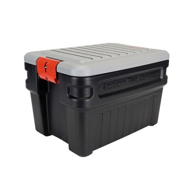 Rubbermaid Action Packer Storage Box in Black/Gray, 8 Gallon