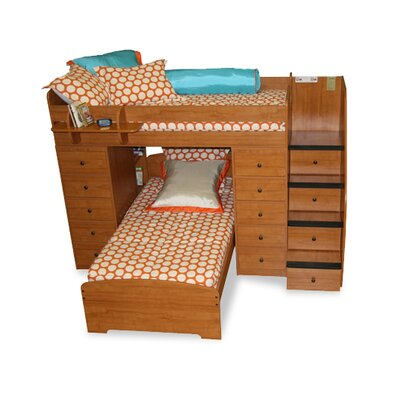Berg Furniture Sierra Twin Over Twin L Shaped Bunk Bed with Storage and Stairs