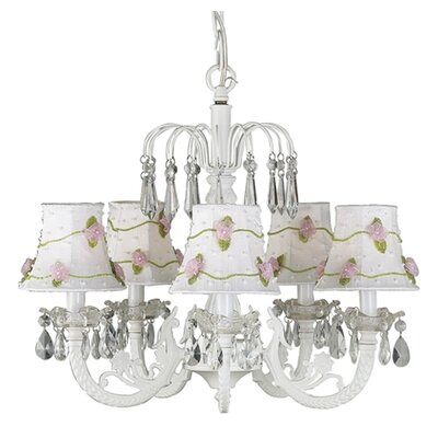 Waterfall 5 Light Chandelier with Net Flower Shade by Jubilee Collection