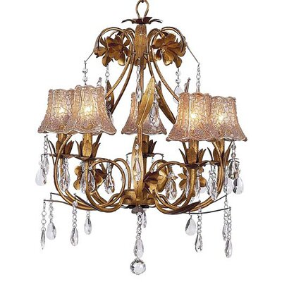 Jubilee Collection Ballroom 5 Light Chandelier with Flower Tulle Shade