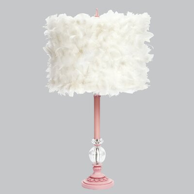"""Jubilee Collection Feather Glass Ball 27.5"""" H Table Lamp with Drum Shade"""