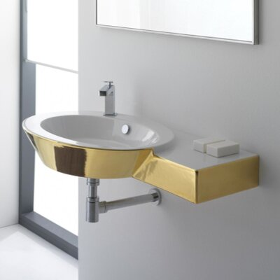 Counter Mounted Sink : Scarabeo by Nameeks Wish Wall Mount Bathroom Sink with Right Counter