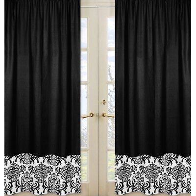 Sweet Jojo Designs Isabella Hot Pink, Black and White Curtain Panels