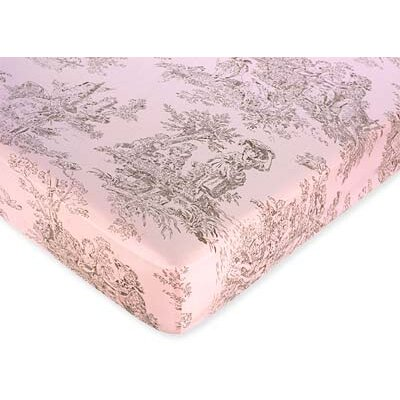 Sweet Jojo Designs Pink and Brown Toile Fitted Crib Sheet