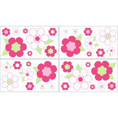 Sweet Jojo Designs Flower Pink and Green Wall Decal