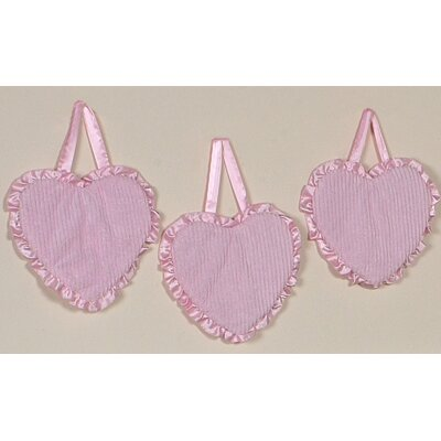 Sweet Jojo Designs 3 Piece Chenille Pink Collection Wall Hanging Set