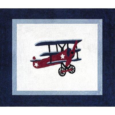 Sweet Jojo Designs Vintage Aviator Blue/White Outdoor Area Rug