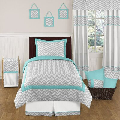 Zig Zag Turquoise and Gray 4 Piece Twin Bedding Collection by Sweet Jojo Designs