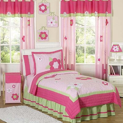 Flower Pink and Green Kid Bedding Collection by Sweet Jojo Designs