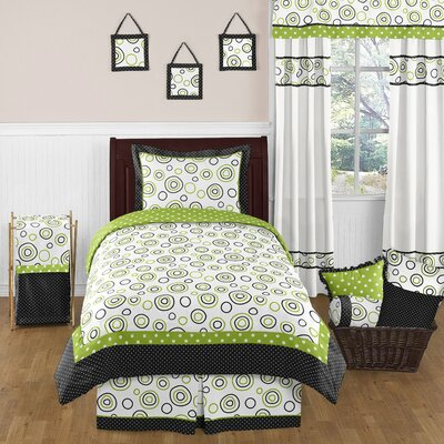 Lime and Black Spirodot 4 Piece Twin Bedding Collection by Sweet Jojo Designs