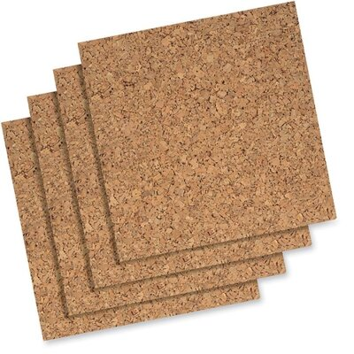 "Quartet® Cork Panels, Self-heal, 12""x12"", 4 per Pack, Natural"