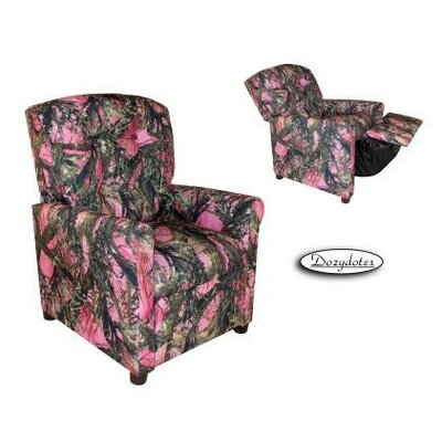 Four Button Pink Camouflage Cotton Fabric Kids' Recliner Chair by Dozy Dotes